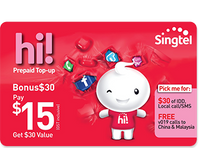 Singtel $15 hi! Card Online Top Up - Mobile Life