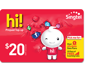 Singtel $20 hi! Card Online Top Up - Mobile Life