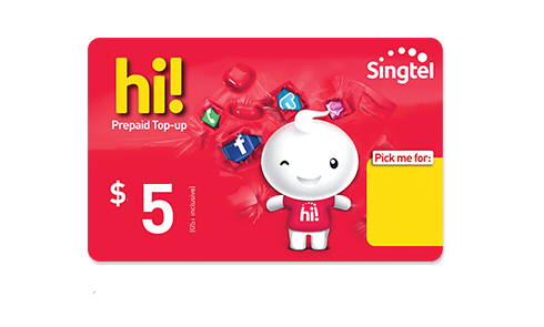 Singtel $5 hi! Card Online Top Up - Mobile Life