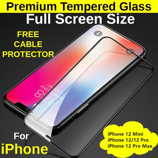 Full Screen Size Tempered Glass Protector iPhone 12 Mini/12/12 Pro/12 Pro Max