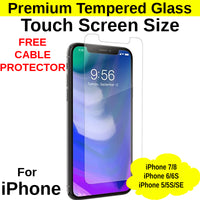 Touch Screen Size Tempered Glass Protector iPhone 5/5S/SE/6/6S/7/8 - Mobile Life