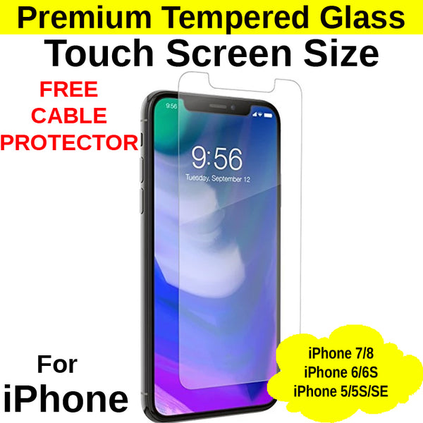 Touch Screen Size Tempered Glass Protector iPhone 5/5S/SE/6/6S/7/8
