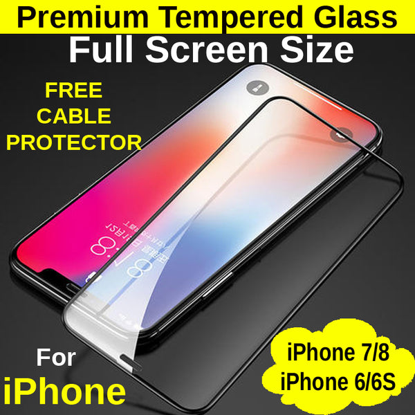 Full Screen Size Tempered Glass Protector iPhone 6/6s/7/8 - Mobile Life