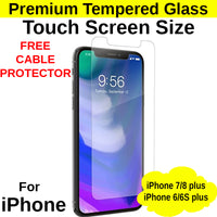 Touch Screen Size Tempered Glass Protector iPhone 6+/6s+/7+/8+ - Mobile Life