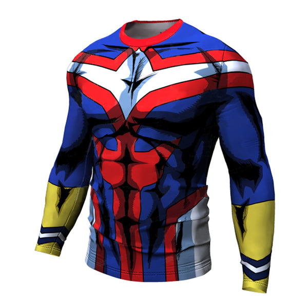 All Might Boku No Hero Academia Men's Fitted Long Sleeve T-Shirt