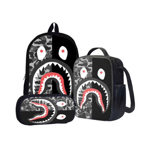 Shark Camouflage Back To School Set Pencil Case Bag Backpack