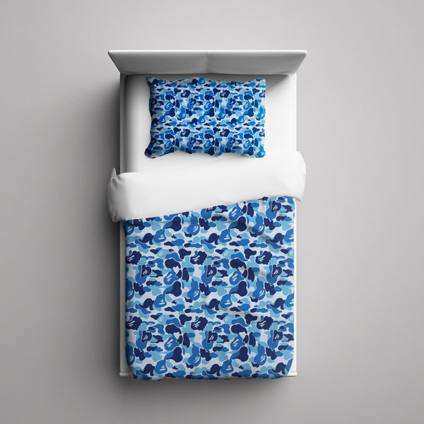 Blue Camouflage 3 Pieces Bedding Set