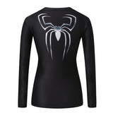 Black Spiderman 3 Women's Compression Fitted Long Sleeve T-Shirt