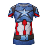 Captain America Women's Compression Fitted Short Sleeve T-Shirt