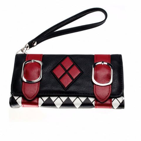 Harley Quinn Puddin Diamond Double Buckle Flap TriFold Wallet