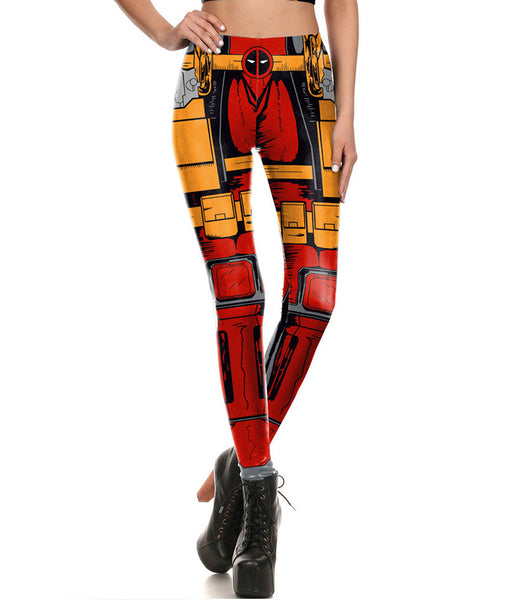 Comic Style Deadpool Fitted Long Pants Legging