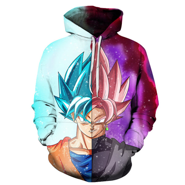Son Goku Super Saiyan Rose & Blue All Over Hoodie Sweatshirt