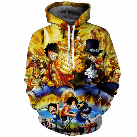 Ace, Luffy & Sabo Brotherhood All Over Hoodie Sweatshirt