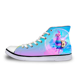 Llama Fortnite Battle Royale High Top Vulcanized Canvas Shoes