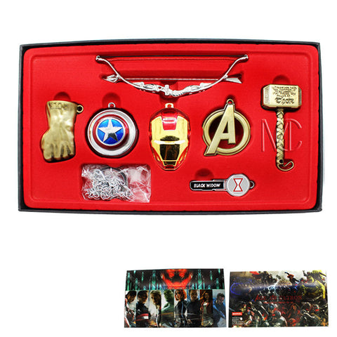 Avengers Superhero 6 Pcs Collector Set Key Chain Necklace Pendant