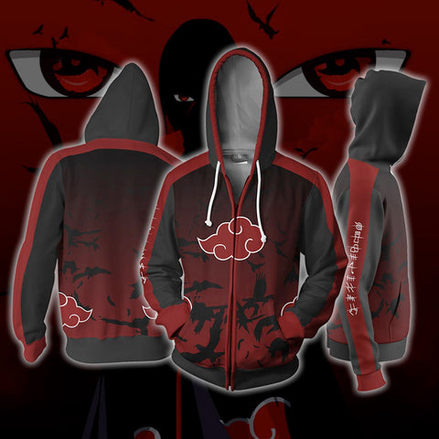 Akatsuki Red Cloud Zipper Hoodie Sweatshirt