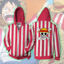 Straw Hat Luffy One Piece Stampede Zipper Hoodie Sweatshirt