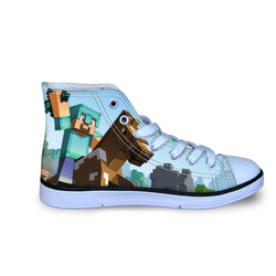 Diamond Steve Minecraft Creeper High Top Vulcanized Canvas Shoes