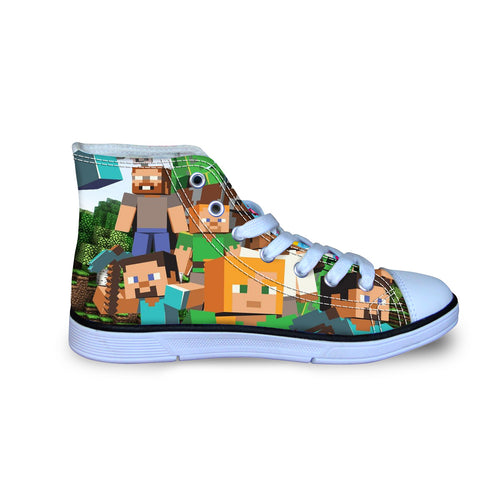 Minecraft Creeper High Top Vulcanized Canvas Shoes