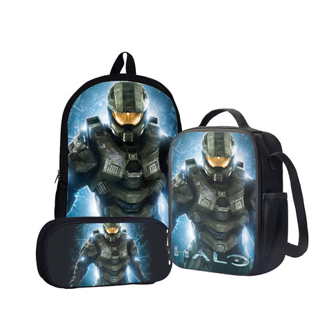 Halo Master Chief Back To School Set Pencil Case Bag Backpack
