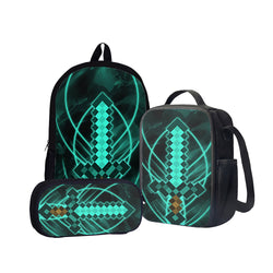Diamond Sword Back To School Set Pencil Case Bag Backpack