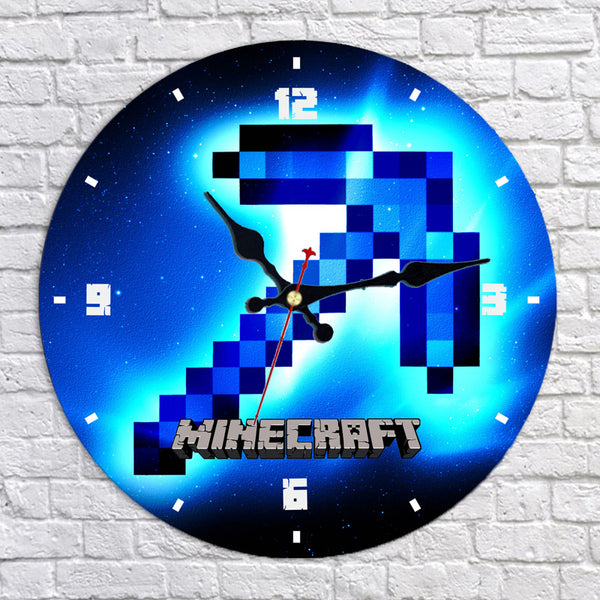Minecraft Diamond Pickaxe Wall Clock