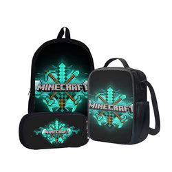 Minecraft Diamond Sword Back To School Set Pencil Case Bag Backpack