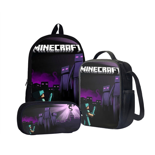 Minecraft Enderman Back To School Set Pencil Case Bag Backpack