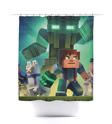 Minecraft Creeper Story Mode Shower Curtain