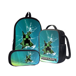 Minecraft Creeper Back To School Set Pencil Case Bag Backpack