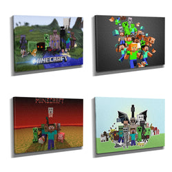 Minecraft Mobs Framed Photo Canvas Print