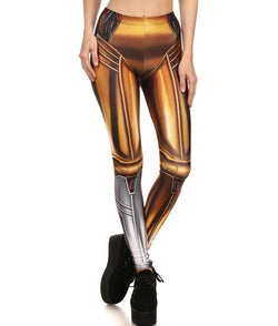 C-3PO See-Threepio Droid Fitted Long Pants Legging