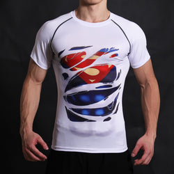 Superman Man of Steel Alter Ego Compression Fitted Short Sleeve T-Shirt