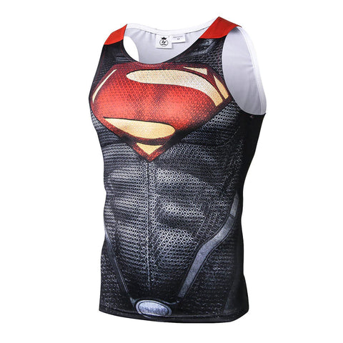 Superman Man of Steel Fitted Sleeveless T-Shirt Tank Top