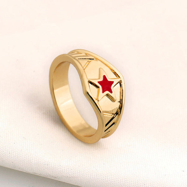 Wonder Woman Star Logo Style 3D Gold Plated Ring