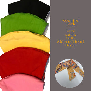 Assorted Pack - Face Mask with Skinny/Head Scarf