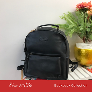 Black - Fashionable Leather Backpack