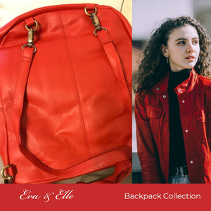Cherry Red - Fashionable Leather Backpack