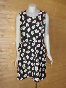 Black with White & Red Floral design print dress