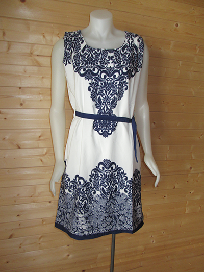 White with Blue design print dress