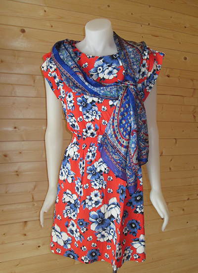 Blue n Red Floral Print dress
