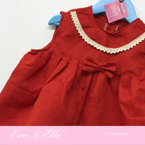 Little Dress in Paprika Linen   2 - 3 yrs