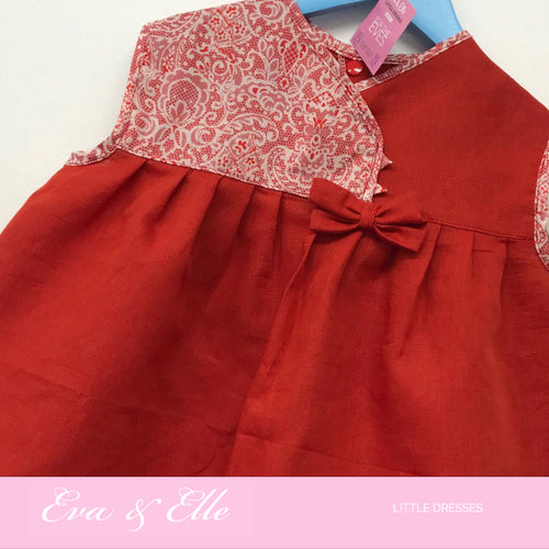 Little Dress in Linen & floral  2 - 3 yrs