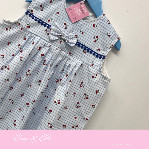 Little Dress in blue & white print for 3 -5 Years