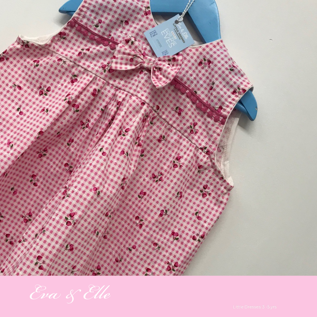 Little Dress in pink & white print for 3 -5 Years