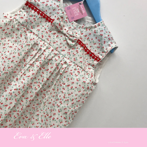 Little Dress in white & red print for 3 -5 Years
