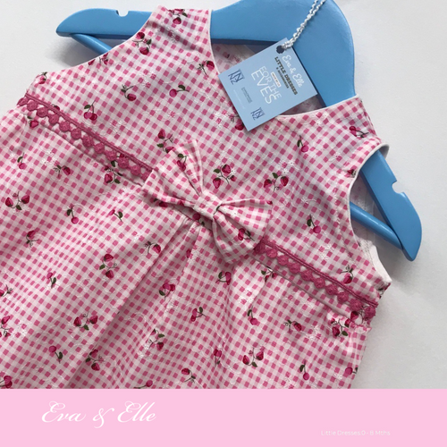 Little Dress in pink & white print for 0 -8mths