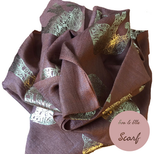 Scarf In Elephant Design Print in Chocolate