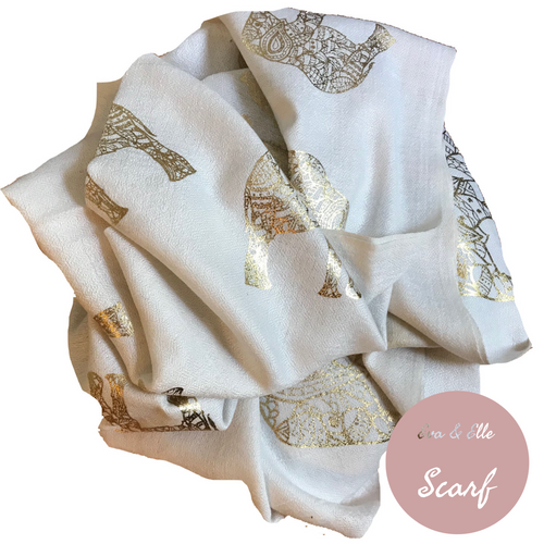 Scarf In Elephant Design Print in Ivory
