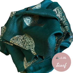 Scarf In Elephant Design Print in Forest Green